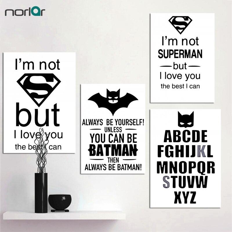 Moderno nórdico batman superman citação impressão em tela arte cartaz preto e branco impressão da parede decoração arte da parede fotos para sala de estar