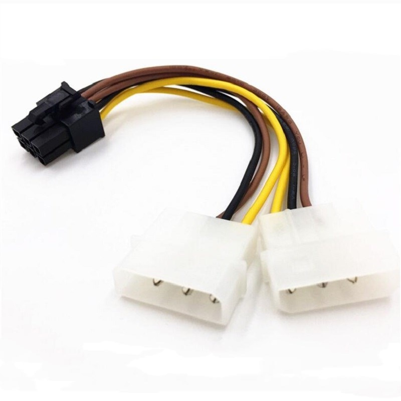 IDE D type Male big 4P 2x4p to PCIE GPU Male 6Pin power supply Full copper wire mining 18AWG 14cm graphics card expansion