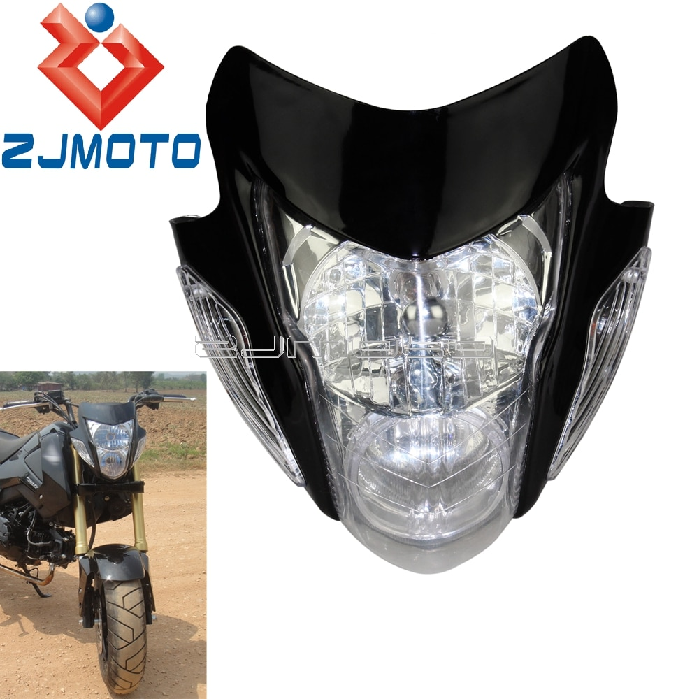 Faro Universal para moto desnuda, carenado para Honda Yamaha Suzuki personalizado ZXR GSX GSF Supermoto Dirt Bike, máscara para faro
