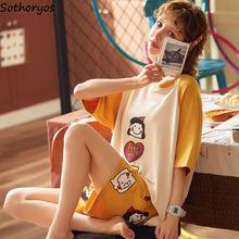 Pajama Sets Women Half Sleeve Shorts 2XL Plus Size Summer Loose Womens Printed Leisure Homewear Korean Style New Pajamas Ulzzang