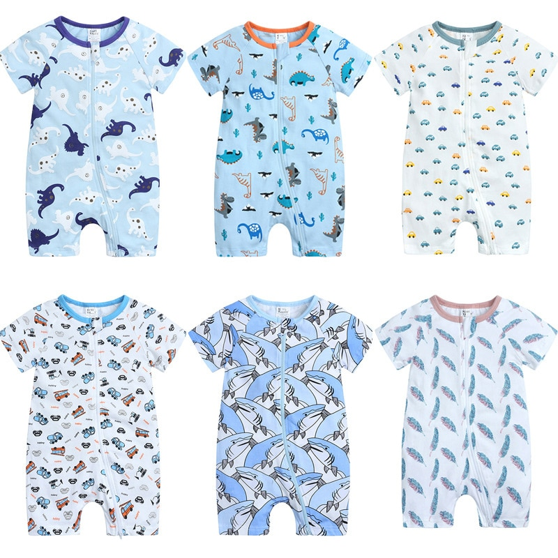 Cartoon Kids Summer Clothes Cotton Short Sleeve Newborn Clothing Boys Rompers Fashion Ziper Baby Rom