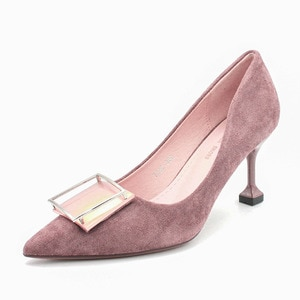 New Fashion Suede Personality Square Buckle High Heel Pump Women's Pointed Toe Elegant Stilettos Party Wedding Pumps Basic Shoes