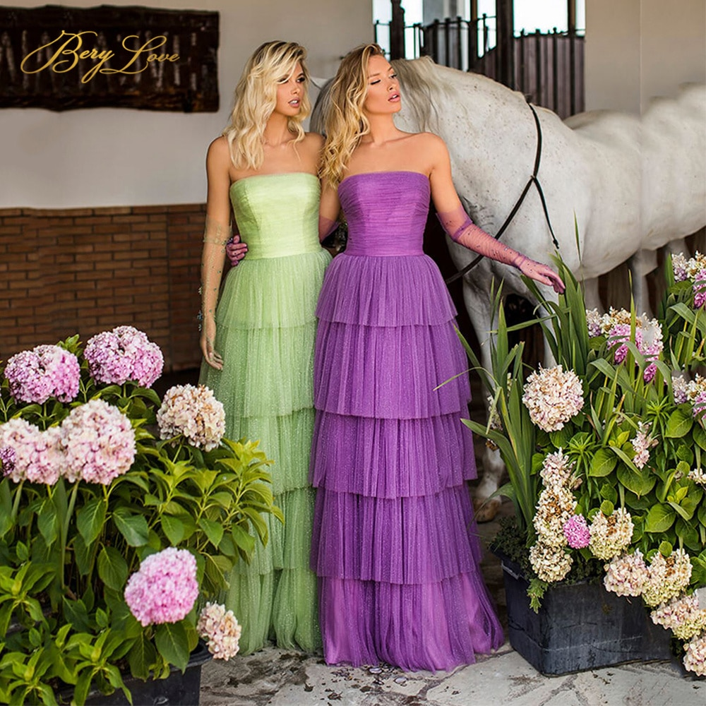 Tiered Long Prom Dress A Line Party Dress Party Gown Strapless Sweetheart Tiered Bodice Tulle Evening Dress Fairy Prom Dresses amazing 2020 new prom dresses ball gown tiered ruffled tulle purple unique evening dress strapless celebrity pageant gowns