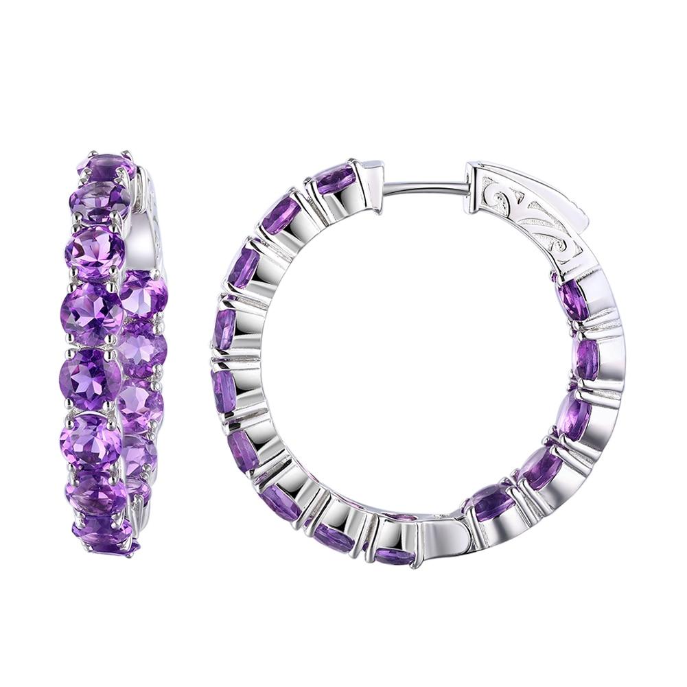 GZ ZONGFA Fashion Handmade 925 sterling silver jewellery Natural Amethyst Gemstone hoop earrings women Fine Jewelry