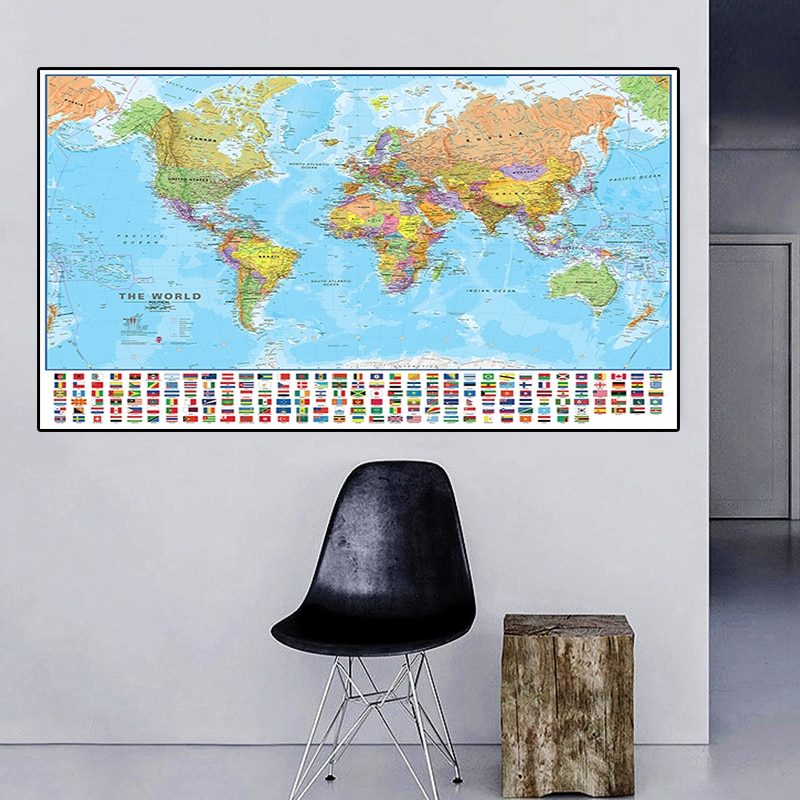 225*150cm The World Political Map with Flags Non-woven Canvas Painting Large Poster Living Room Home Decoration School Supplies