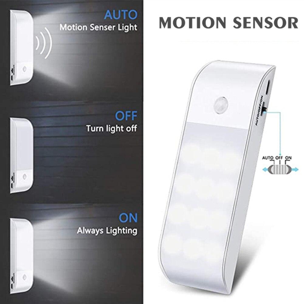 Светодиодный ночсветильник с датчиком движения, индукционный светильник на клейкой основе для гардероба, лестницы, кухни, чулана, коридора,...