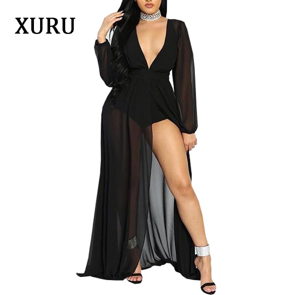 Vestido largo de chifón negro para mujer de XURU, Vestido largo de manga larga con escote en V profundo, vestidos con transparencias altas, vestido Maxi Sexy para fiesta o discoteca