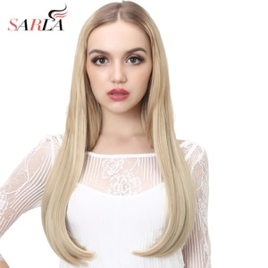 """U Part Half Wig Synthetic Clip in 3/4 Long Straight 24"""" Thick Hair Extensions Natural Hairpiece For Women Black Brown 03"""