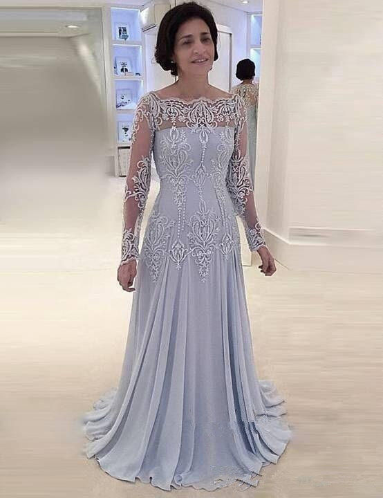 plus size green 2018 mother of the bride dresses a line 3 4 sleeves chiffon lace wedding party dress mother dresses for wedding Silver Mother Of The Bride Dresses A-line 3/4 Sleeves Chiffon Appliques Pearls Formal Groom Long Mother Dresses For Wedding