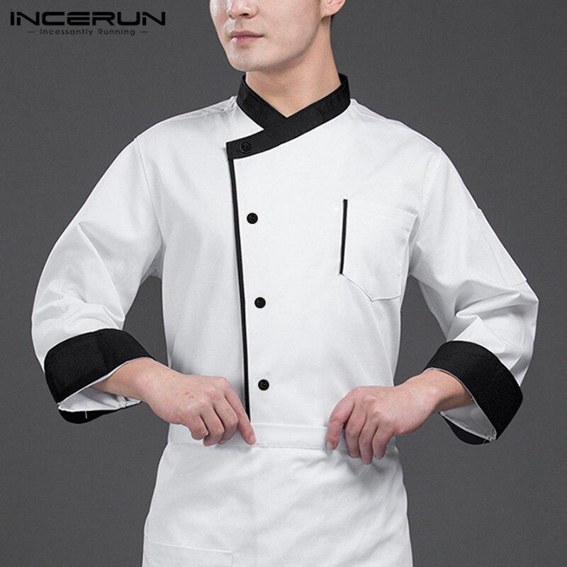 Incerun chefe uniforme unissex serviço de comida manga longa retalhos botão up restaurante cozinha masculino chef jaquetas catering trajes