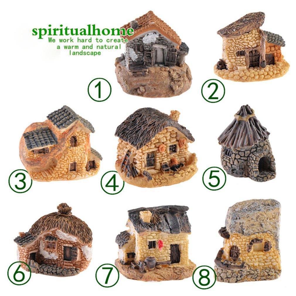 Artificial Mini Miniature Resin House Craft Ornament for Home Decoration Small Model DIY Cute