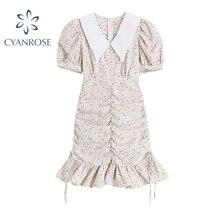Stylish Floral Print Dresses Women Summer Sweet Shirring Ruffles High Waist Vestiods Female Puff Sho