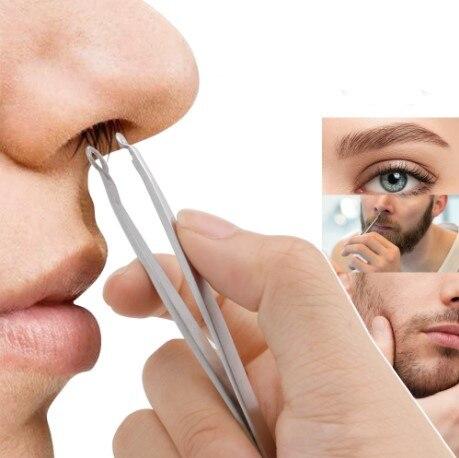 3pcs Nose Hair Trimming Tweezers Stainless Steel Eyebrow Nose Hair Cut Manicure Facial Trimming Eyebrow Tweezer