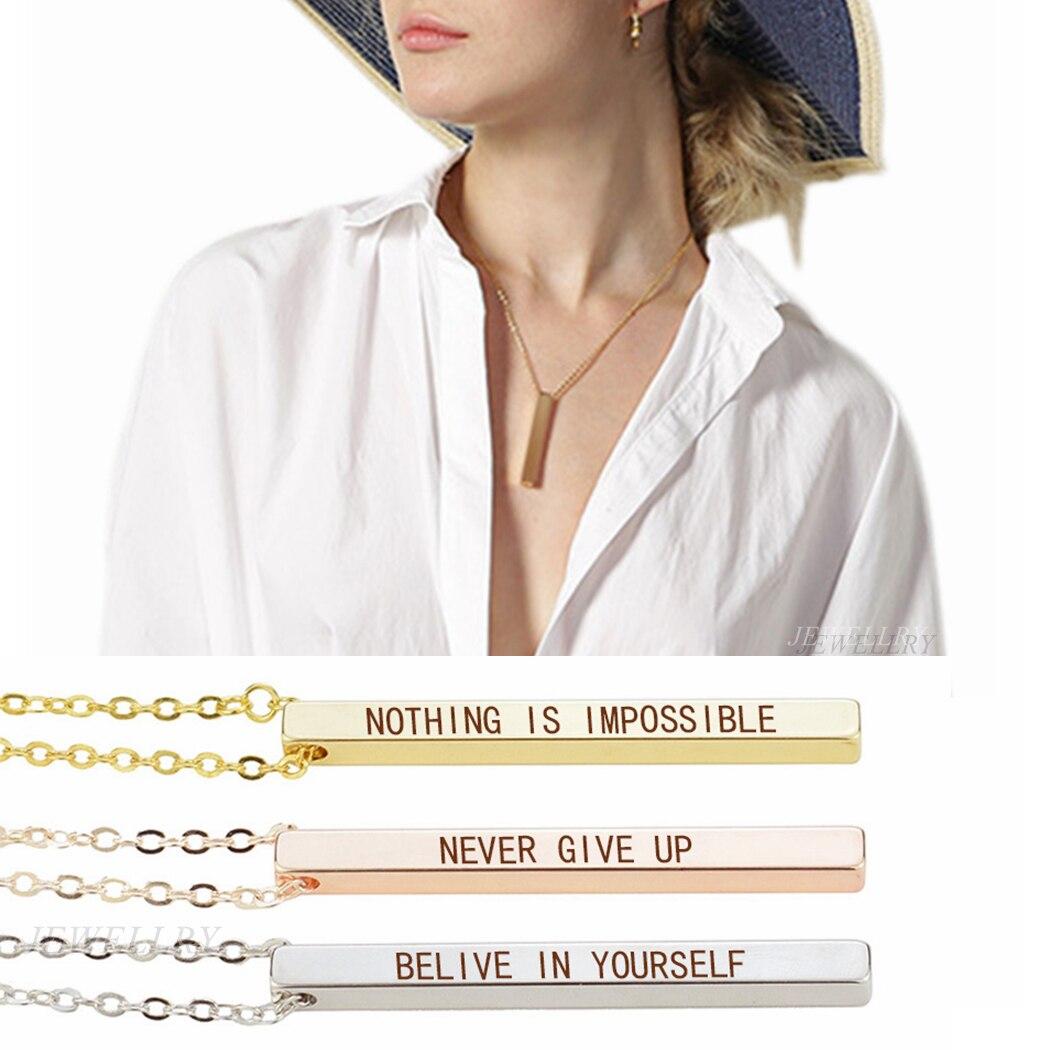 Collar Vertical con mensaje inspirador que no es posible, colgante de barra...