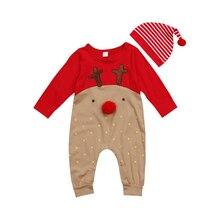 Newborn Baby Boys Girl Christmas 2Pcs Reindeer Romper Long Sleeve Hat Sleepwear Party Costume Baby Clothes Deer Autumn Winter