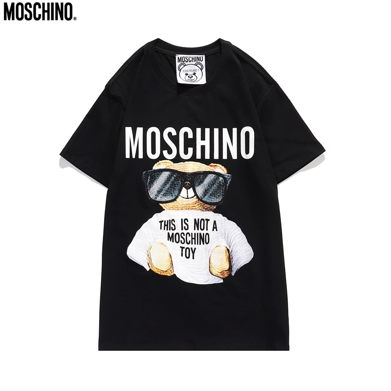 2020 Moschino T-Shirts Cool Sunglasses Bear Unisex Shirts Short Sleeve Tops MOSCHINO O-Neck Cotton S