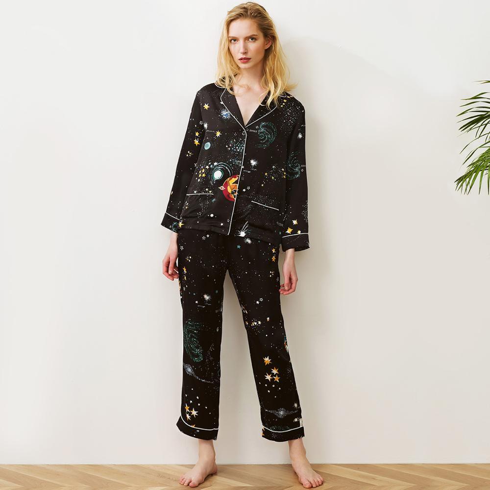 100% silk satin lady sleepwear,girl sleep shirts and pants in romantic starry sky printed fabric, luxury pajamas set for women