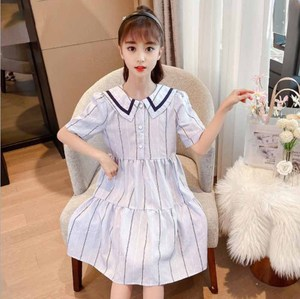 Cultiseed Girls Summer New Vintage Striped Short Sleeve Dress Children Studens Fashion Casual Knee Length Gowns Clothing