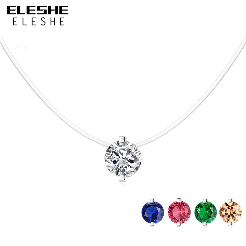 Eleshe 100% 925 prata esterlina colar feminino pequeno redondo pingente de cristal colar para mulheres linha de peixes corrente elegante jóias