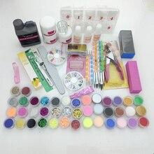 Professionals Acrylic Nail set 120ML Liquid 42 Color Powder Glitter Clipper Primer File Nail Art Tip