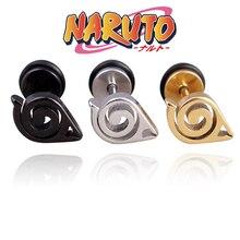 1PC Naruto Cosplay Studs Metal Earring Uchiha Sasuke Konohagakurenosato Sign Accessories Props