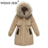 wesay jesi womens winter parka coat warm thick fleece hooded jacket multicolor liner winter clothes women loose long jackets