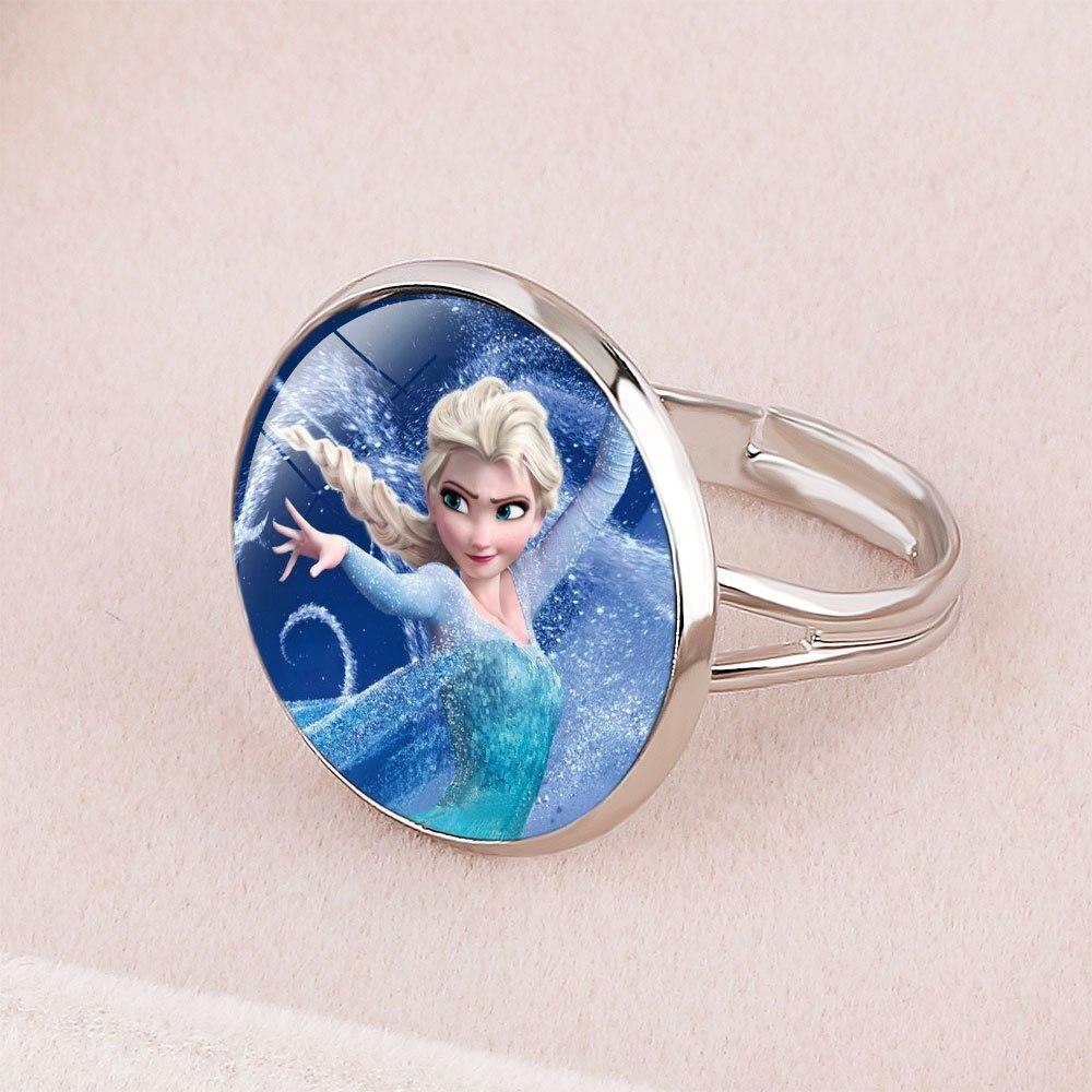 Anillo de la princesa Elsa de la princesa congelada de la historieta de la princesa de la nieve blanca Cenicienta joyería muñeca accesorios regalos para las niñas