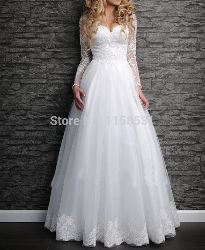 2020 real photo sale tassel free shipping formal gown new custom dress long sleeve with jacket plus size bespoke wedding dresses فساتين New Romantic Long Sleeves White Ivory Applique Organza Bridal Gown Free shipping Custom made size Bespoke Wedding Dresses