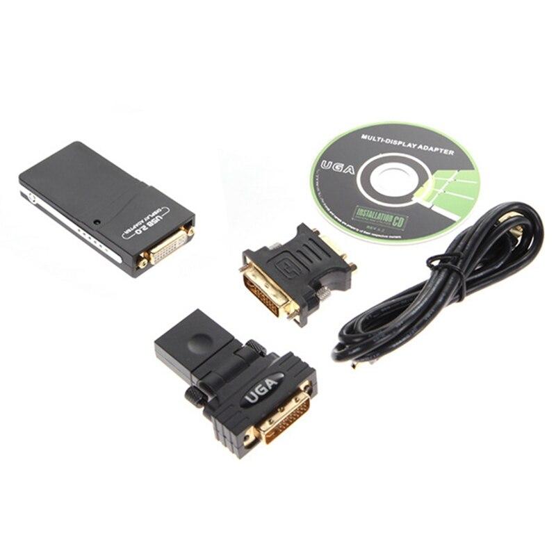 USB 2.0 UGA إلى VGA/DVI/HDMI HD 1920X1080 صورة الفيديو محول لعدة شاشات عرض تحويل محول ل PC