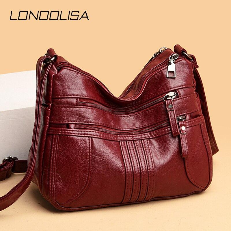 حقائب كتف جلدية متعددة جيوب غير رسمية للنساء 2020 حقيبة كروس فاخرة جديدة ذات علامة تجارية مصمم حقائب عالية الجودة