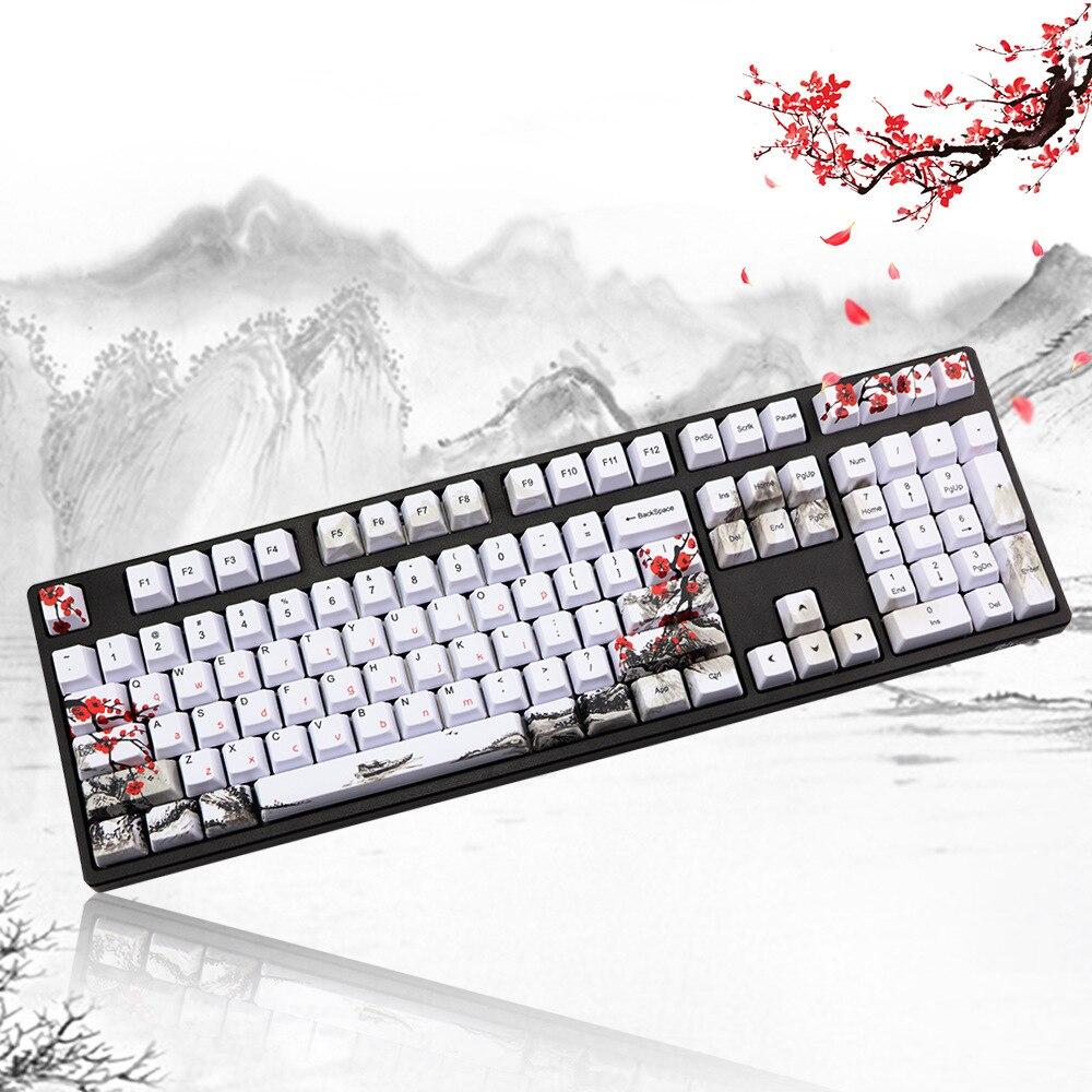 109 مفاتيح Pbt أغطية مفاتيح مناسبة للوحة المفاتيح الميكانيكية الإنجليزية الكورية اليابانية الروسية صبغ التسامي مفتاح قبعات بلوم بوسوم