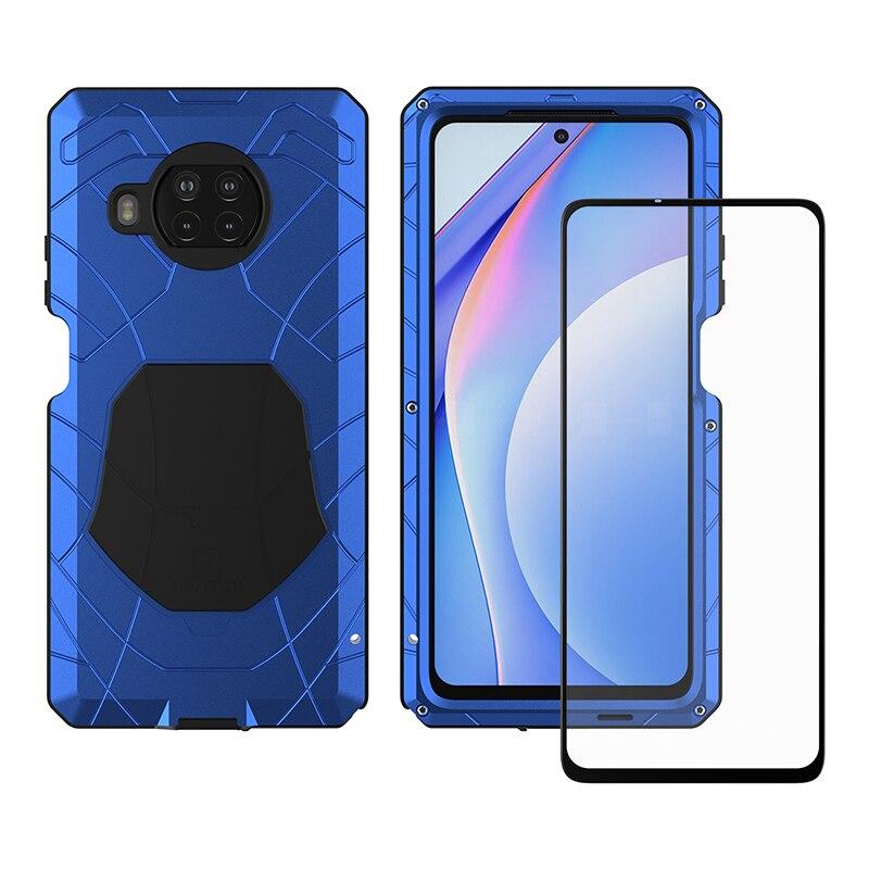 جراب هاتف Xiaomi Mi 10T Lite Mi 10T Pro Redmi Note 9 Pro 5G ، غلاف معدني من الألومنيوم الصلب شديد التحمل ، زجاج مقسّى