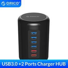 ORICO RH4CS-BK 4 Ports USB3.0 HUB matériau ABS Ultra-Mini avec 2 Ports de charge Super chargeur 5V Max 2.4A pour téléphone Pad-noir