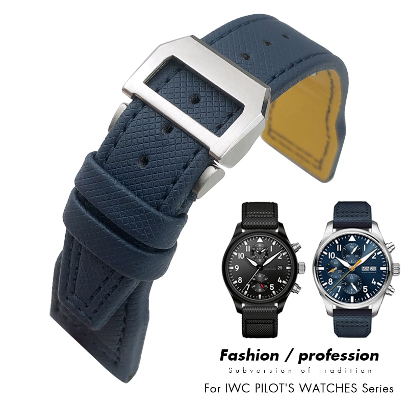 20mm 21mm 22mm Nylon Fiber Leather Watchband Fit for IWC IW377729 IW389001 Big Pilot Watch High Qual