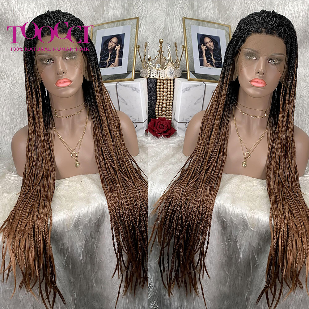 Braided Wig Long Synthetic Lace Front Synthetic Hair TOOCCI Braids Lace Front Wig Braided Cornrow Wig Braided Wigs Black Women