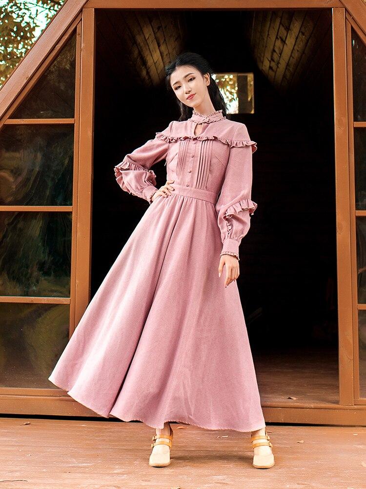 Envío Gratis Boshow 2020 nueva moda mujeres largo Maxi linterna volantes manga primavera y otoño vestido bohemio S-L dobladillo grande