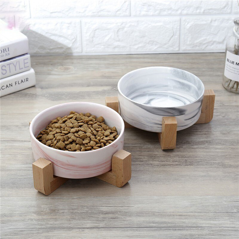 Comederos de cerámica para perros, repisa de madera para perros, cuenco único, alimentador de platos de agua para alimentos adorables