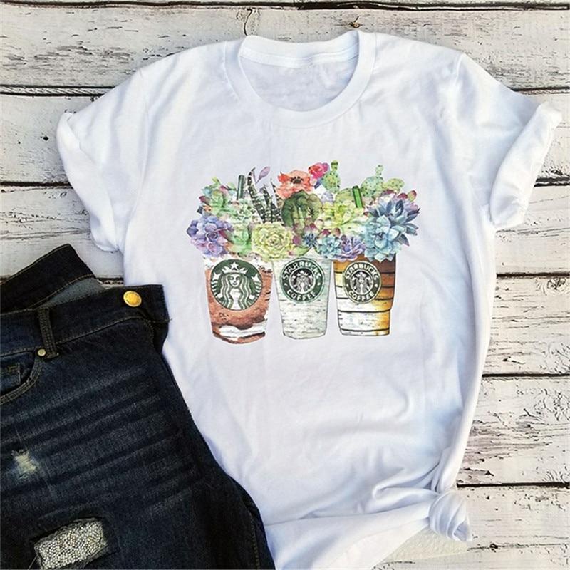 Harajuku t-shirt femmes Vintage t-shirts graphique t-shirts Streetwear filles Top tasses avec café t-shirt Succulent Floral Cactus