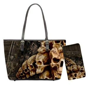 Sugar Skull 3D Print Punk Handbags Fashion Women Brand Design Tote Bags 2pcs/set PU Shoulder Bag for Office Ladies