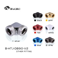 Bykski B-HTJ-DB90-V2 Boutique Diamond Pattern 14mm Hard Tube Fitting 90 Degree Double Head Rotary Fitting Adapter Hard Pipe