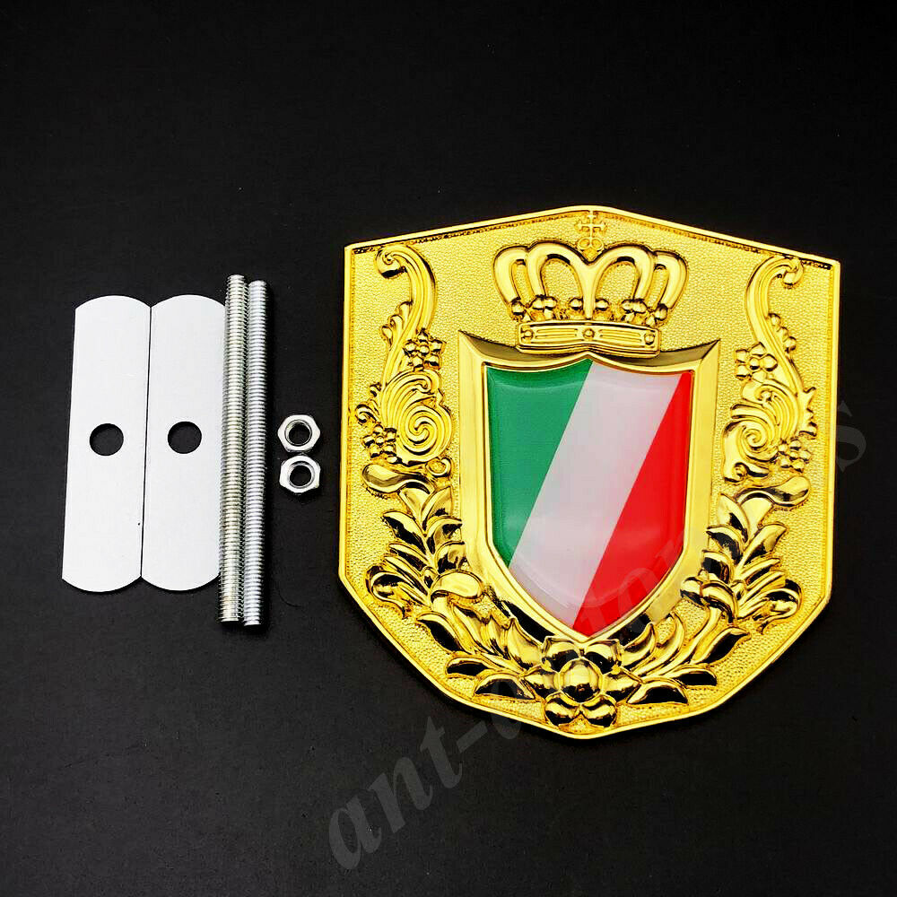 Metal Golden Italy Italian Flag Royal Crown Car Front Grille Emblem Badge Decal