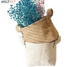 Woven Fabric Storage Basket for Desktop Garden Flower Pot Plant Baskets Flower Vase Small Laundry Basket Toy Organizer Home