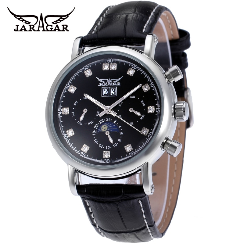 Jaragar Fashion Casual Calendar Automatic Movement Mechanical Men's Watches Multifunction Business M