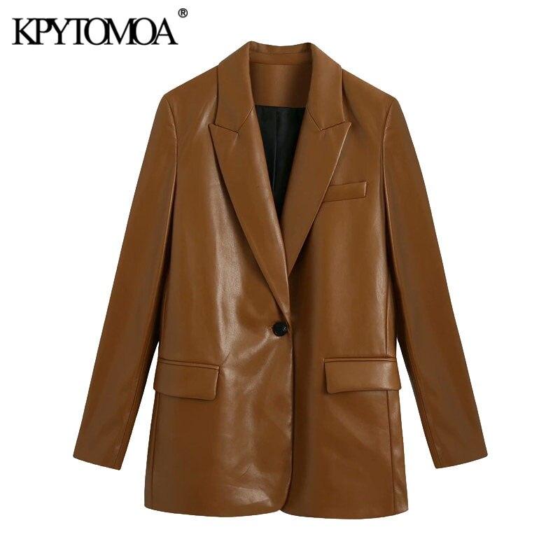 KPYTOMOA Women 2021 Fashion Faux Leather Single Button Blazers Coat Vintage Long Sleeve Pockets Fema