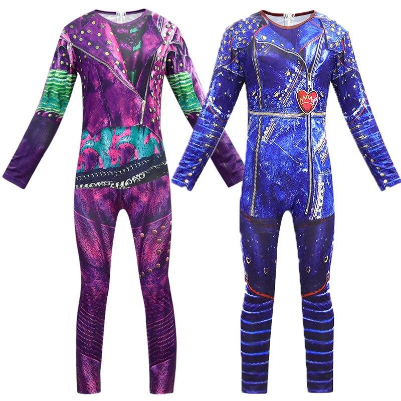 Evie mal cosplay macacão halloween traje de filme descendentes 3 trajes para crianças bodysuits halloween fantasia trajes c48687ch
