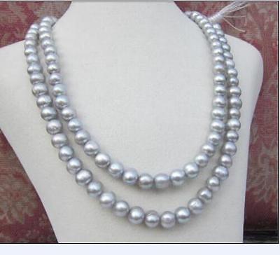"NATURAL AAA + 9-10MM redondo Mar del Sur collar de perlas grises 50 ""14K cierre de oro"