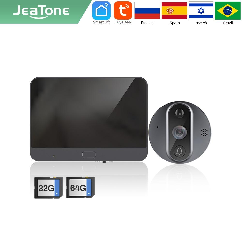 【متخصصون 】 jeatone Tuya الذكية جرس باب مزود بتقنية WiFi مع 720P/110 ° كاميرا فيديو ثقب الباب 4.3