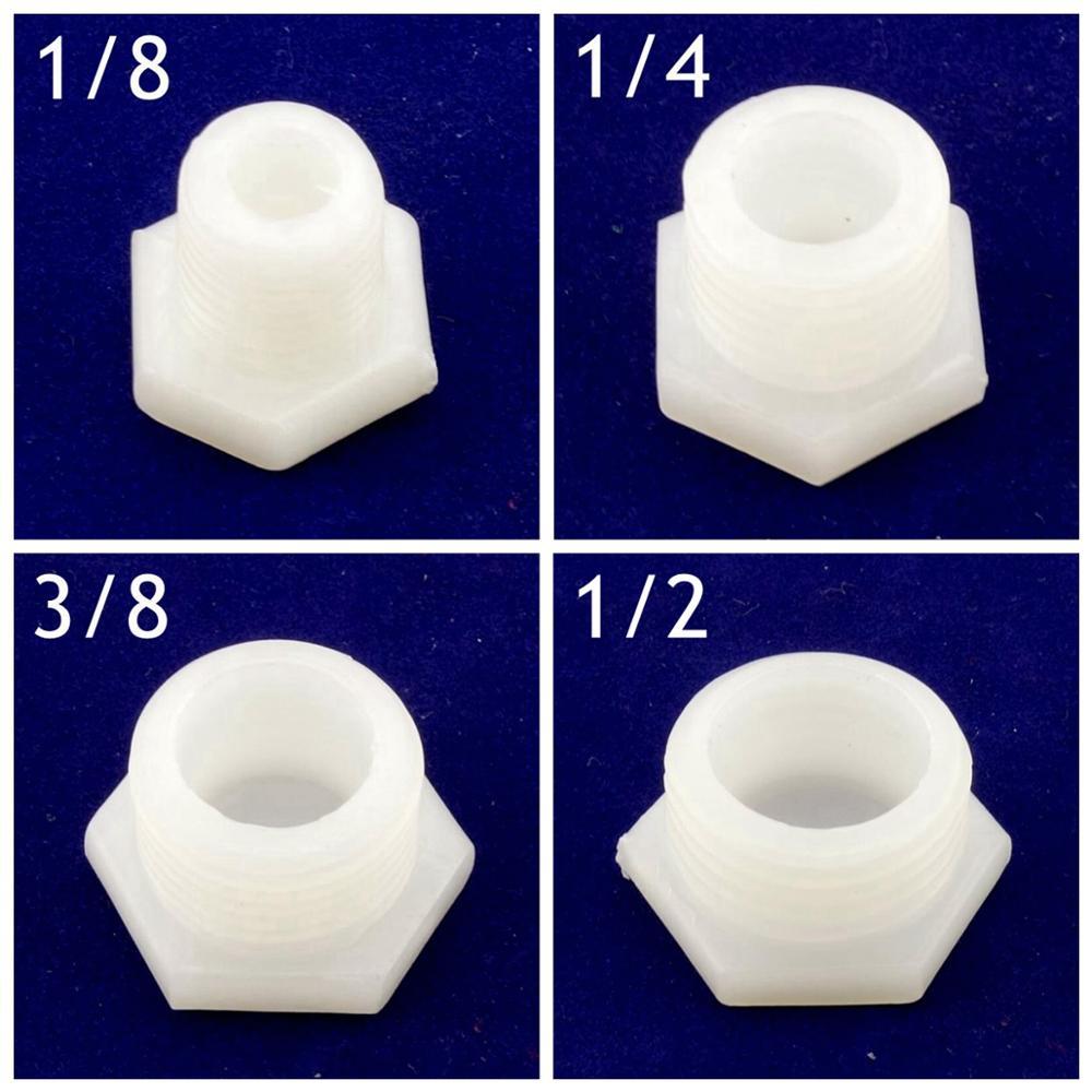 1/8 BSPP filetage mâle bouchon en plastique hexagone 10mm blanc tuyau embout Tube deau connecteur rapide tuyau de jardin raccord