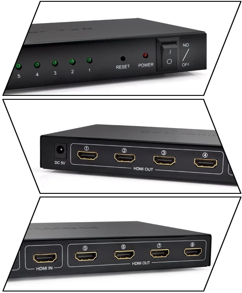 8 Port HDMI Splitter Switch Amplify V1.4 1080P 3D Video Audio STB HDTV HDCP PS3 DVD enlarge