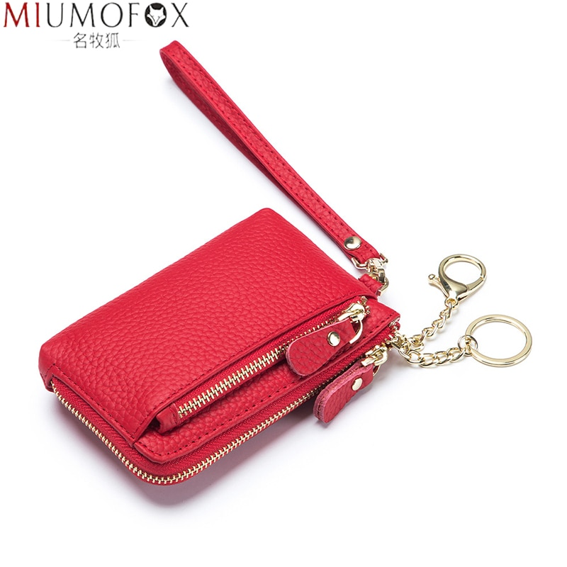 Wristlet Wallets for Women Coin Purse Genuine Leather Clutch Bags 2021 New Ladies Money Credit Card Keychain Holder Short Wallet